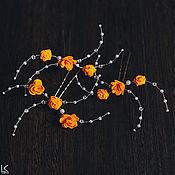 Свадебный салон ручной работы. Ярмарка Мастеров - ручная работа Шпильки с оранжевыми цветочками. Handmade.