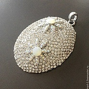 Материалы для творчества handmade. Livemaster - original item Big pendant pendant art. 7-73 of brass with silver coating. Handmade.