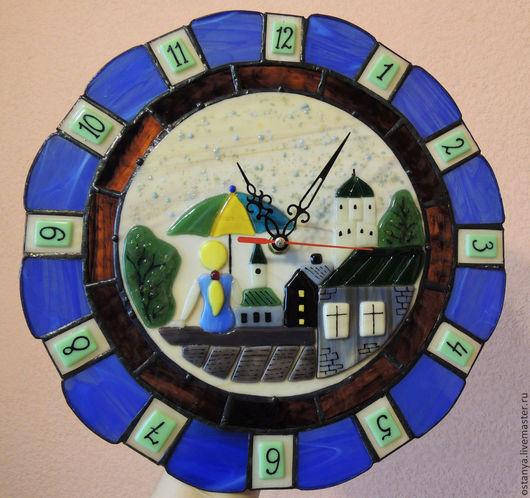 """Часы для дома ручной работы. Ярмарка Мастеров - ручная работа. Купить Настенные часы """" Дождь"""" Стекло, фьюзинг. Handmade."""