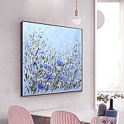 Картины и панно handmade. Livemaster - original item Oil paintings for the interior Paintings with flowers in blue tones. Handmade.