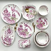 Посуда handmade. Livemaster - original item Porcelain painting Table service Pink chinoiserie for 4 persons. Handmade.