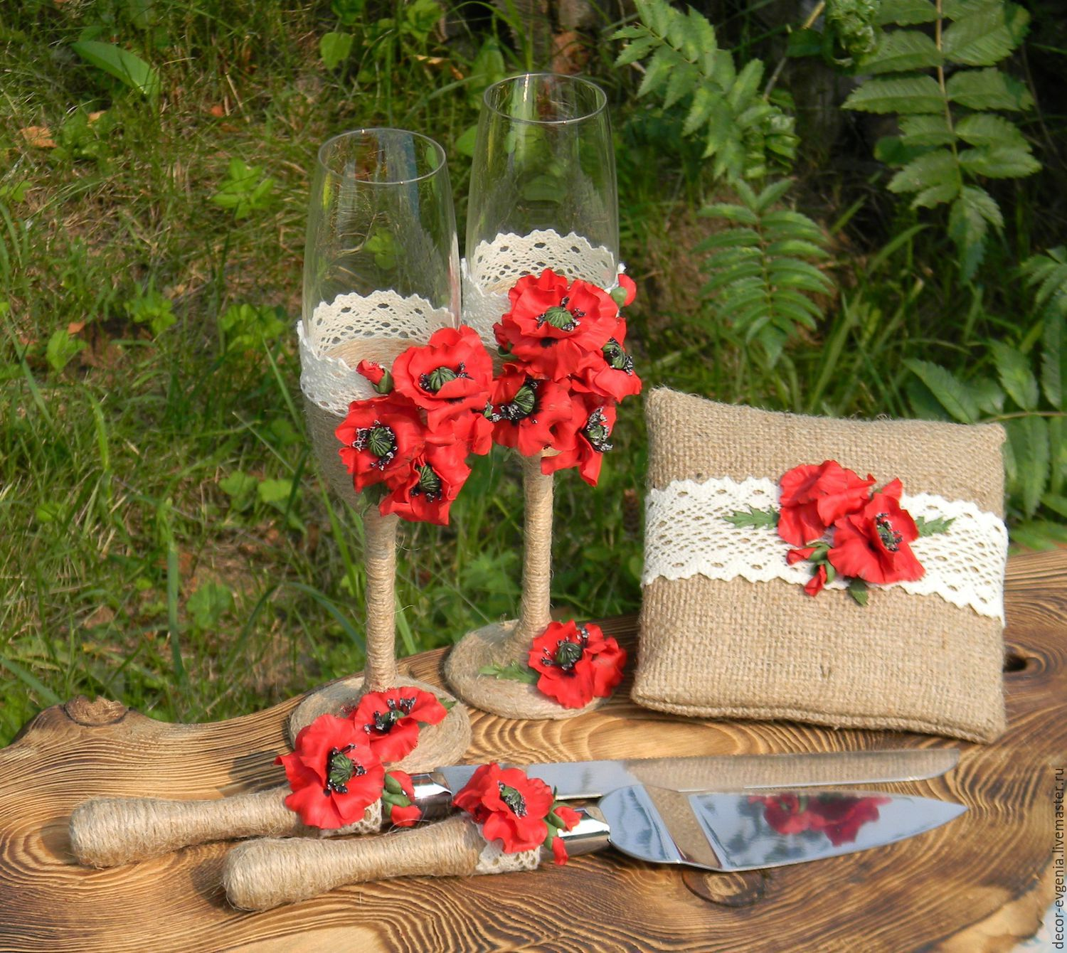 Rustic wedding glasses red poppy wedding decor champagne wedding accessories handmade livemaster handmade buy rustic wedding glasses red poppy junglespirit Gallery