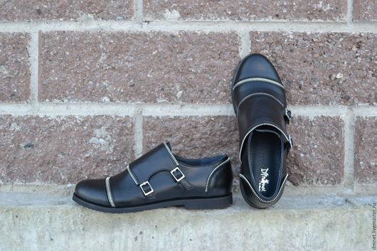 Обувь ручной работы. Ярмарка Мастеров - ручная работа. Купить Монки женские на двух пряжках и декоративной молнией. Handmade. Черный
