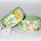 Украшения handmade. Livemaster - original item Green bracelets made of wood Yellow buttercups and pink anemone. decoupage. Handmade.