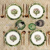 Посуда handmade. Livemaster - original item Porcelain painting Set of plates Artichoke and Cabbage. Handmade.