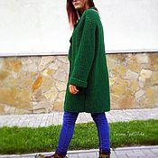 Одежда ручной работы. Ярмарка Мастеров - ручная работа Пальто вязаное цвета сочной листвы. Handmade.
