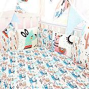 Бортики в кроватку ручной работы. Ярмарка Мастеров - ручная работа Комплект в кроватку ЛамаМама. Handmade.
