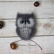 """Украшения ручной работы. Ярмарка Мастеров - ручная работа Войлочная брошь """"Совушка"""" с голубыми глазками. Handmade."""