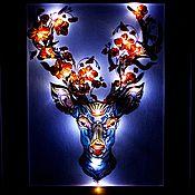 Для дома и интерьера ручной работы. Ярмарка Мастеров - ручная работа Картина Олень роспись по стеклу с подсветкой, в раме. Handmade.