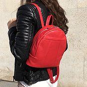 Сумки и аксессуары handmade. Livemaster - original item Backpack small bright red genuine leather. Handmade.
