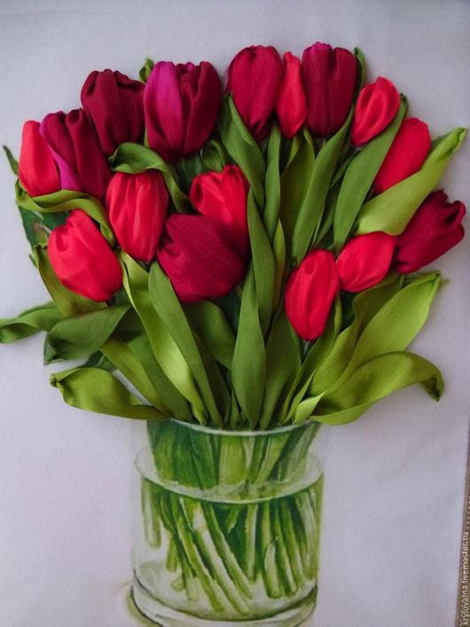 Картины цветов ручной работы. Ярмарка Мастеров - ручная работа. Купить Тюльпаны в вазе.Картина вышитая лентами.. Handmade. Тюльпаны