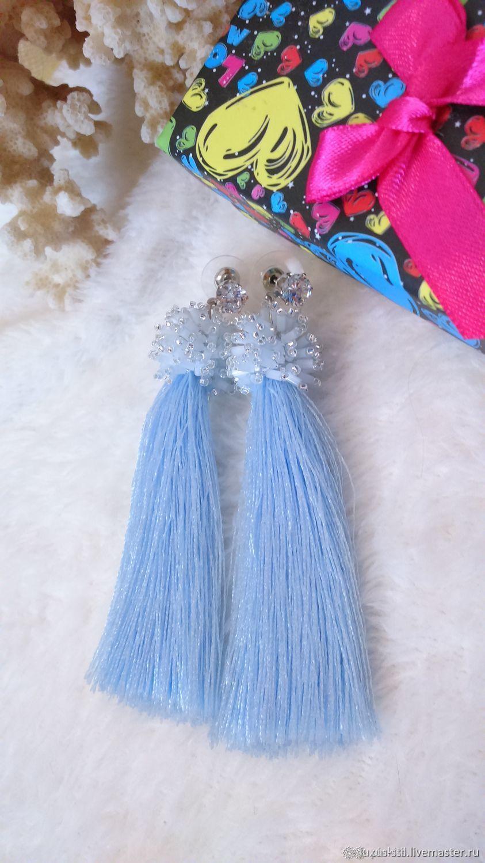 Drop blue beaded and silk brush earrings, Tassel earrings, Podolsk,  Фото №1