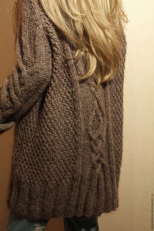 """Кофты и свитера ручной работы. Ярмарка Мастеров - ручная работа. Купить Длинный свитер """"Аляска"""". Handmade. Коричневый, араны"""