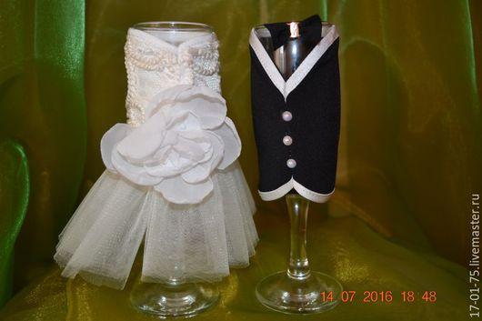 Свадебные аксессуары ручной работы. Ярмарка Мастеров - ручная работа. Купить Бокалы свадебные. Handmade. Белый, бокалы со стразами