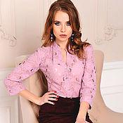 Одежда handmade. Livemaster - original item Dusty rose lace placket blouse, lace blouse. Handmade.
