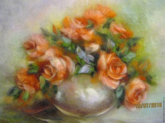 Картины цветов ручной работы. Ярмарка Мастеров - ручная работа. Купить Картина из шерсти Красные розы. Handmade. Ярко-красный