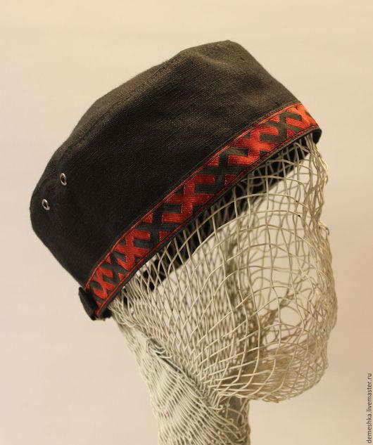 Панамы ручной работы. Ярмарка Мастеров - ручная работа. Купить Летняя шапочка-таблетка. Handmade. Черный, льняная шапочка, лён