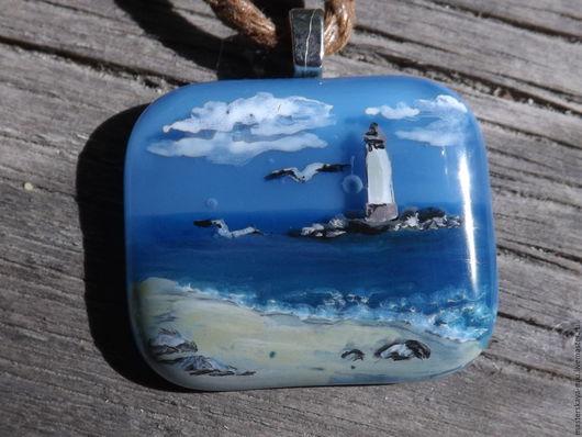 """Кулоны, подвески ручной работы. Ярмарка Мастеров - ручная работа. Купить """"Океан"""", кулон. Handmade. Синий, покой, миниатюра"""