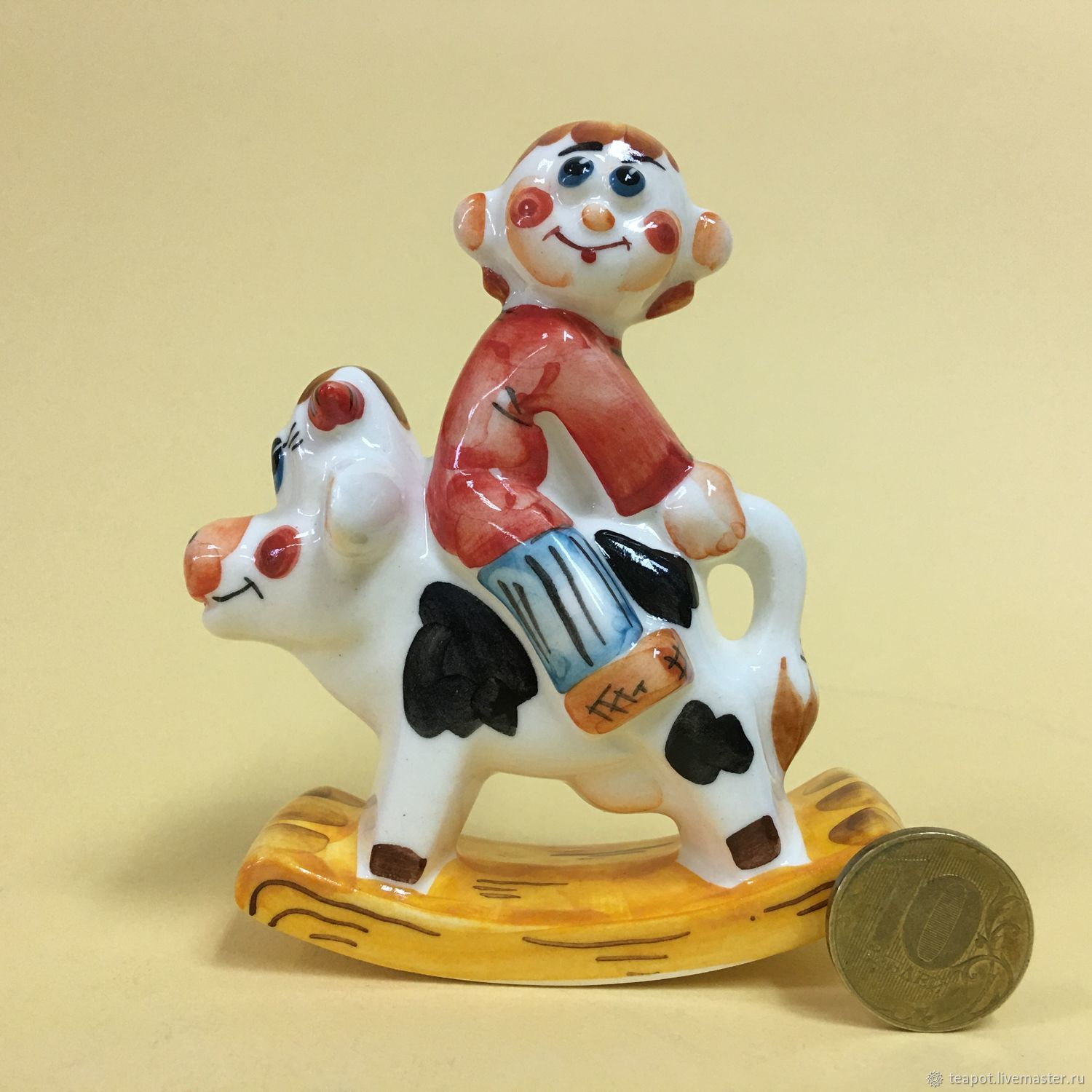 Ivan the Fool on a Cow rocking chair porcelain, Fun, Moscow,  Фото №1