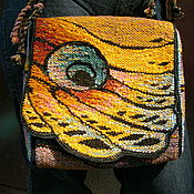 Сумки и аксессуары handmade. Livemaster - original item Woven linen bag Peacock eye. Handmade.