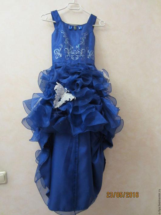 Платья ручной работы. Ярмарка Мастеров - ручная работа. Купить Нарядное платье. Handmade. Синий, на праздник, органза