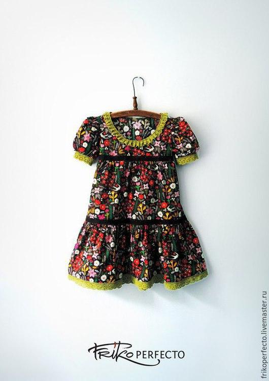 Одежда для девочек, ручной работы. Ярмарка Мастеров - ручная работа. Купить Платье. Handmade. Салатовый, платье для девочки, рукав фонарик