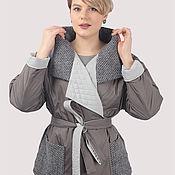 Одежда handmade. Livemaster - original item Jacket gray short under the belt plus size oversize. Handmade.