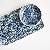 Посуда ручной работы. Ярмарка Мастеров - ручная работа темно-синее блюдо прямоугольное  - кружевной поднос для закусок. Handmade.
