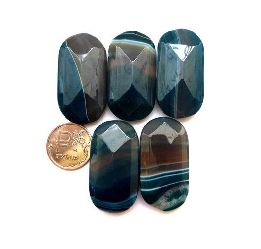 Для украшений ручной работы. Ярмарка Мастеров - ручная работа. Купить Агат 5 камней набор синий крупные бусины с огранкой с 2 отверстиями. Handmade.