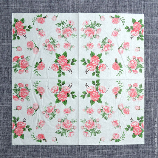 СФ-1020506. Салфетка бумажная `Букеты роз`, цвет белый