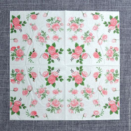 СФ-1020506. Салфетки бумажные `Букеты роз`, цвет белый