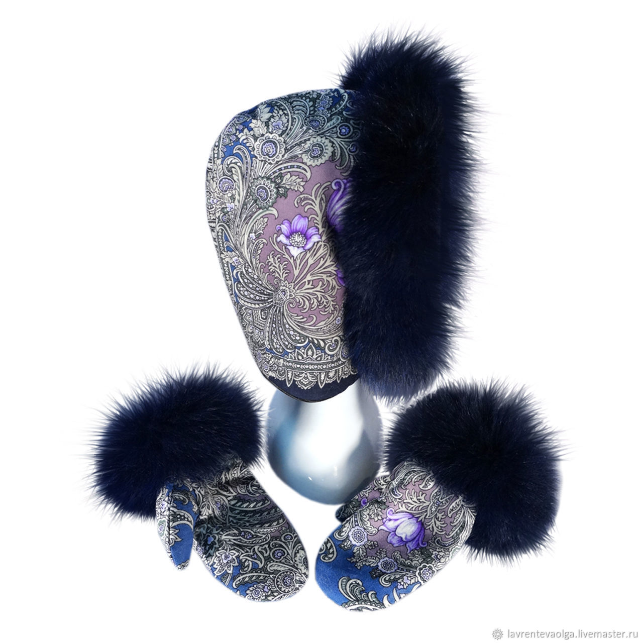 Set Snood and mittens with fur, Headwear Sets, Moscow,  Фото №1