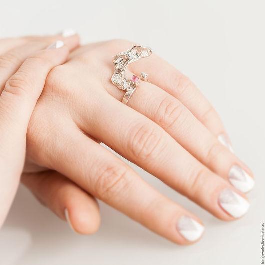 Кольца ручной работы. Ярмарка Мастеров - ручная работа. Купить Серебряное кольцо с розовым турмалином - 2. Handmade. Розовый