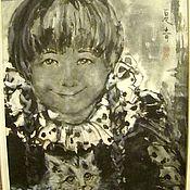 """Картины и панно ручной работы. Ярмарка Мастеров - ручная работа Суми э """" Девочка с кошкой"""". Handmade."""