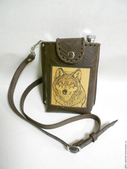 """Подарки для мужчин, ручной работы. Ярмарка Мастеров - ручная работа. Купить Фляжка в коже""""Волк"""" 0.7л. Handmade. Комбинированный"""