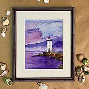 Картины и панно ручной работы. Ярмарка Мастеров - ручная работа Акварель маяк море в раме. Handmade.