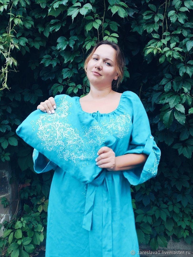 Платье бирюза с сумкой, поясом и контурной росписью, Платья, Москва,  Фото №1