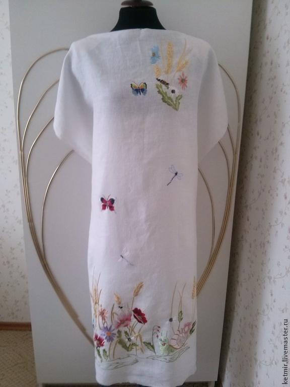 вышитая шелком заготовка на платье  (лен), Платья, Тольятти, Фото №1