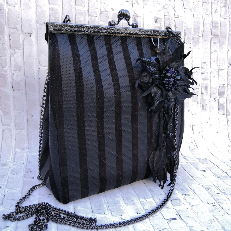 Сумочка из кожи Черные полосы, Классическая сумка, Санкт-Петербург,  Фото №1