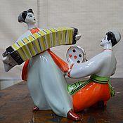 Винтаж handmade. Livemaster - original item Porcelain figurine Ukrainian dance with accordion and tambourine . Dance. T. Handmade.