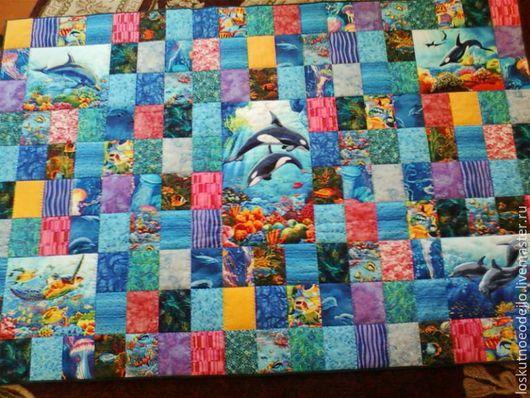 """Пледы и одеяла ручной работы. Ярмарка Мастеров - ручная работа. Купить Лоскутное одеяло """" Подводный мир"""". Handmade. Синий"""