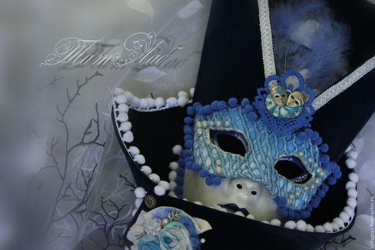 """Интерьерные  маски ручной работы. Ярмарка Мастеров - ручная работа. Купить Венецианская маска интерьерная """"Вольто"""". Handmade. Тёмно-синий"""