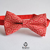Аксессуары handmade. Livemaster - original item Red butterfly tie Retro circles / bow tie ornament. Handmade.