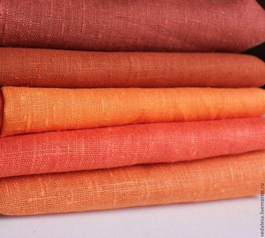 Шитье ручной работы. Ярмарка Мастеров - ручная работа. Купить Лен (лён).  Цветной. Оранжевые и терракот цвета.. Handmade. Рыжий