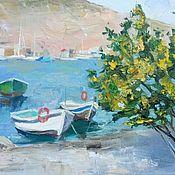 Картины и панно handmade. Livemaster - original item Oil painting.Boats. Balaclava. Crimea. Handmade.