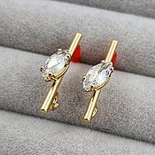 Материалы для творчества handmade. Livemaster - original item Earrings studs with zircons 5x20 mm gold plated (3658). Handmade.