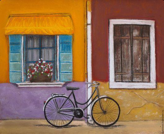 Город ручной работы. Ярмарка Мастеров - ручная работа. Купить Велосипед. Handmade. Пастель, картина в подарок, велосипед, городской пейзаж
