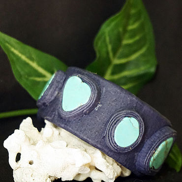 Decorations handmade. Livemaster - original item Leather bracelet with howlite.. Handmade.