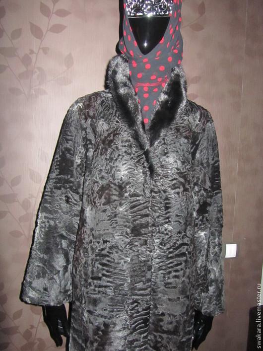 Верхняя одежда ручной работы. Ярмарка Мастеров - ручная работа. Купить Каракульча Соль с перцем и черная норка. Handmade. Черный