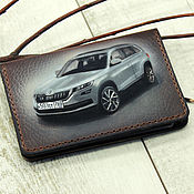 Канцелярские товары handmade. Livemaster - original item The cover for car documents is Leather with your car. Handmade.